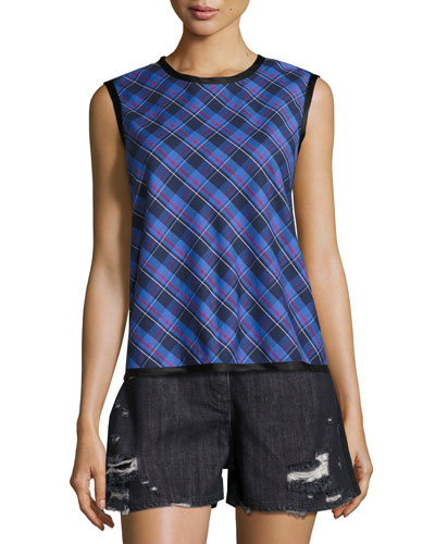 Dalya Plaid Sleeveless Cotton Top, Blue Pattern