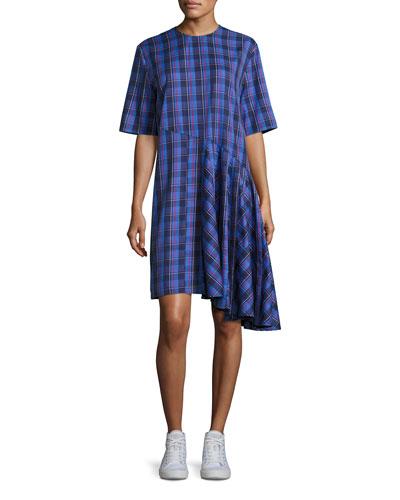 Rima Plaid Cotton Dress, Blue Pattern