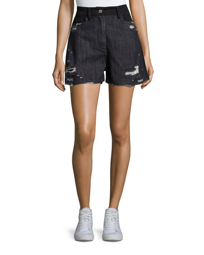 Thana Two-Tone Destroyed Denim Shorts, Black
