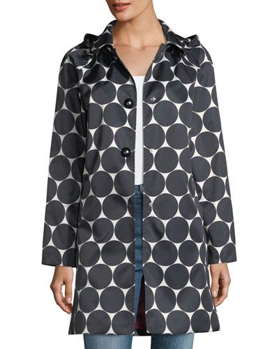 dot button-front hooded rain coat