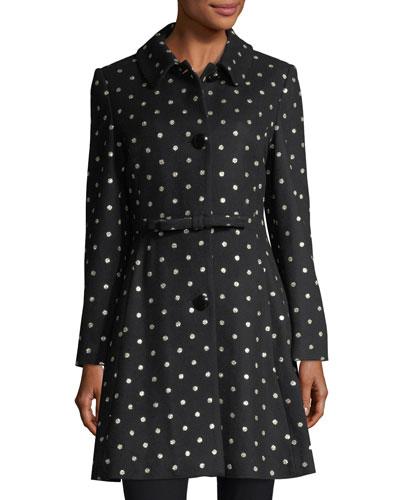kate spade new york three - button glitter - dot swing coat