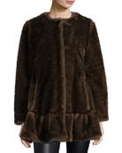 faux fur coat with flounce hem