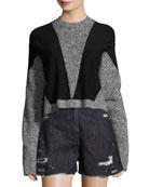 Sana Long-Sleeve Pullover Sweater, Gray