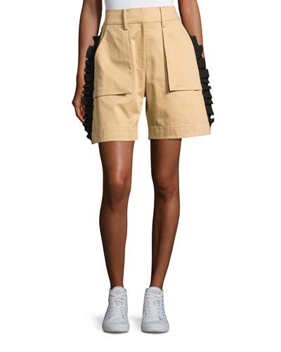 Mousa Ruffled Poplin Shorts, Khaki
