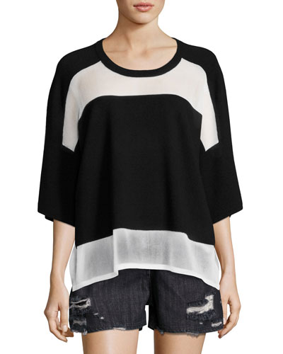 Lati Drop Shoulder Combo-Knit Sweater, Black