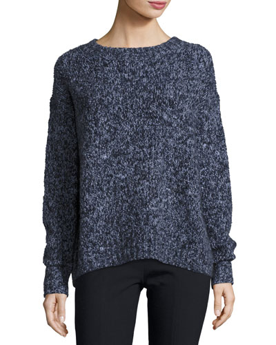 Chunky Long-Sleeve Pullover Sweater, Blue