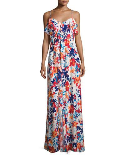 Bellaire Floral-Print Silk Maxi Dress, Multi