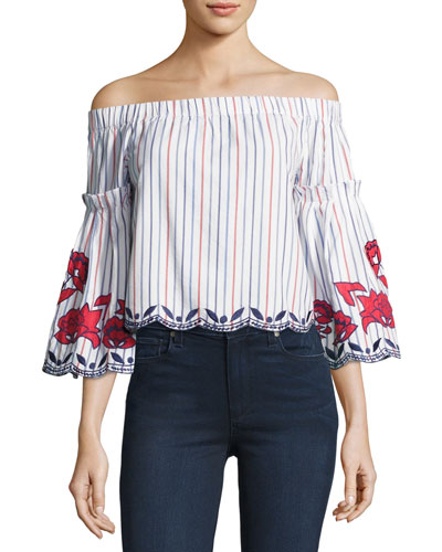 Dane Off-the-Shoulder Embroidered Blouse