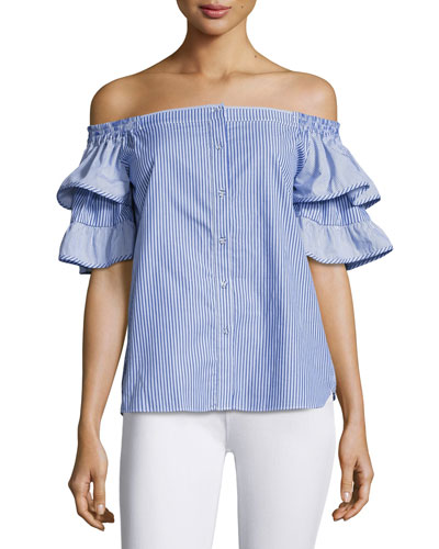 Julia Off-the-Shoulder Combo Top, Blue-White