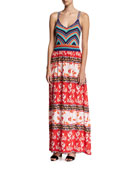 Goldie Knit Combo Maxi Dress, Multicolor