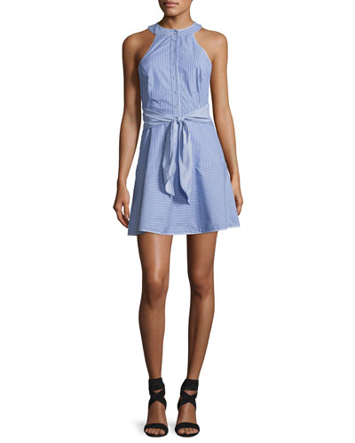 Lauralie Striped Combo Dress, Blue-White
