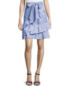 Lambert Bow-Tie Striped Poplin Skirt, Blue-White
