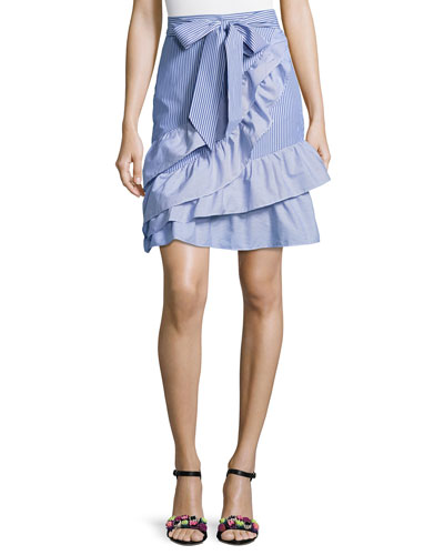 Lambert Bow-Tie Striped Poplin Skirt, Blue-White