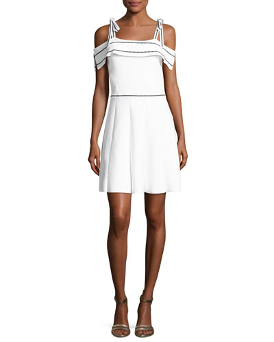 Dorothy Knit Cold-Shoulder Dress, White