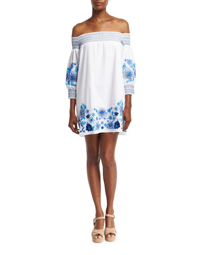 Jace Embroidered Poplin Mini Dress