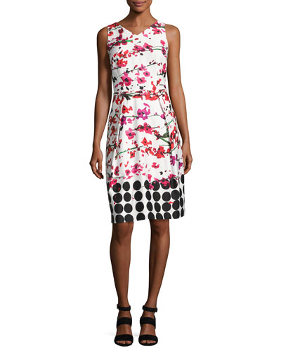 Sleeveless Floral Stretch Sheath Dress, White/Red