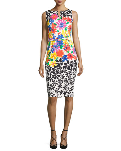 Sleeveless Belted Floral Sheath Dress, Multicolor