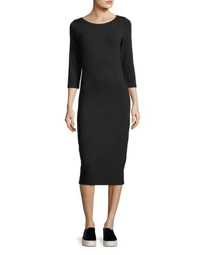 3/4-Sleeve Slim French Terry Dress