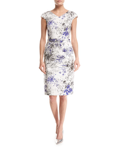 Cap-Sleeve Scattered Floral-Print Sheath Dress