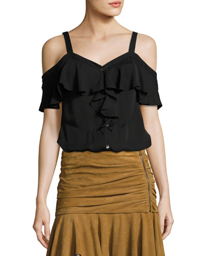 Frieda Cold-Shoulder Silk Top, Black