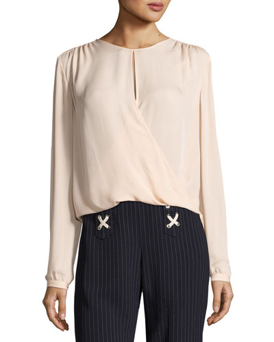 Logan Surplus Long-Sleeve Silk Top, Blush
