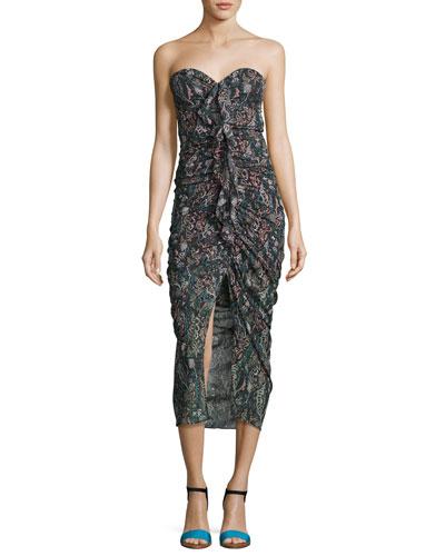 Peyton Strapless Ruched Silk Cocktail Dress, Multi