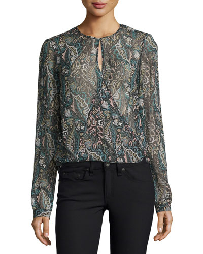 Gayle Surplice Printed Silk Top, Multi