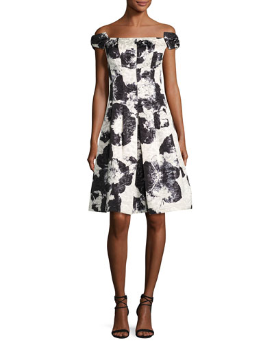 Off-the-Shoulder Floral Jacquard Fit-&-Flare Dress, Black Pattern