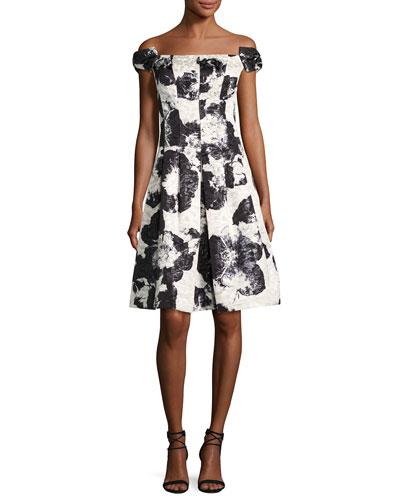 Off-the-Shoulder Floral Jacquard Fit-&-Flare Dress, Black Pattern