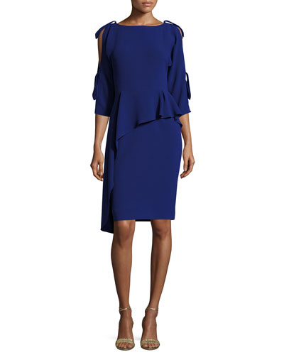 3/4-Sleeve Asymmetric Peplum Cocktail Dress, Blue