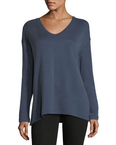 Cotton-Blend V-Neck Sweatshirt
