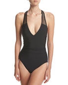 Trinity Solid One-Piece Swimsuit, Black
