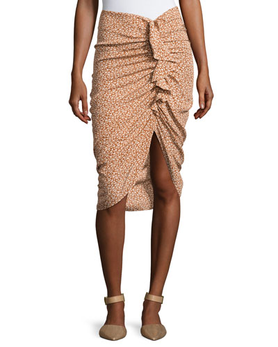 Hazel Side-Ruched Silk Ruffle Skirt