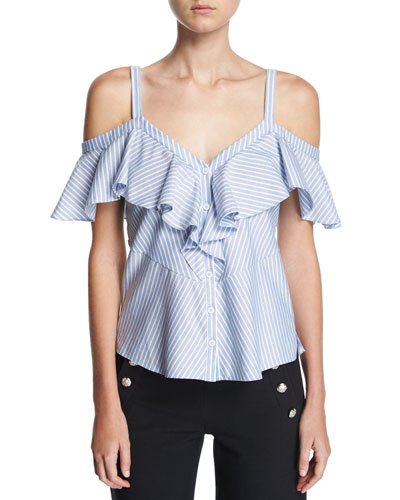 Grant Off-Shoulder Ruffle Top, Blue/White