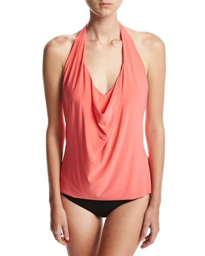 Sophie Solid Cowl-Neck Tankini Swim Top, Pink
