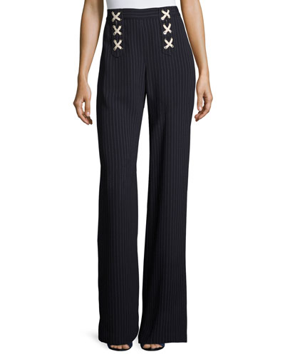 Quinn Striped Lace-Up Wide-Leg Pants