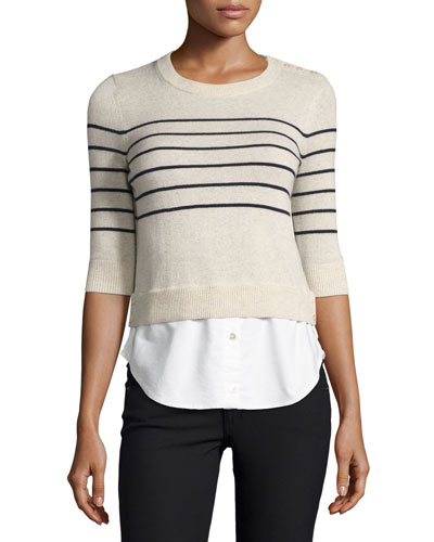 Knot Mariner Combo Sweater, Ivory