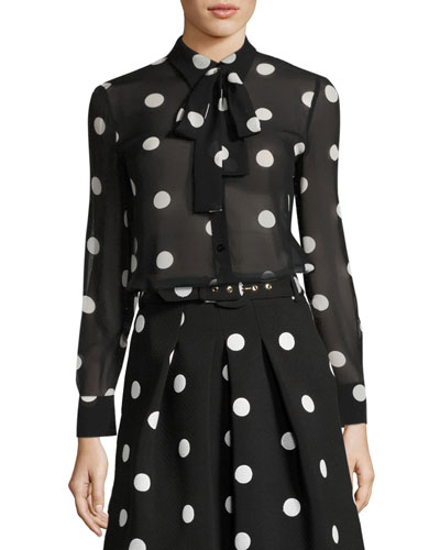 Long-Sleeve Tie-Neck Polka-Dot Silk Blouse
