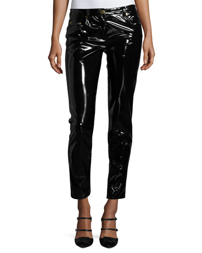 Shiny Vinyl Slim-Leg Ankle Pants