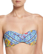 Woodstock Tease Bandeau Swim Top, Blue-Multi