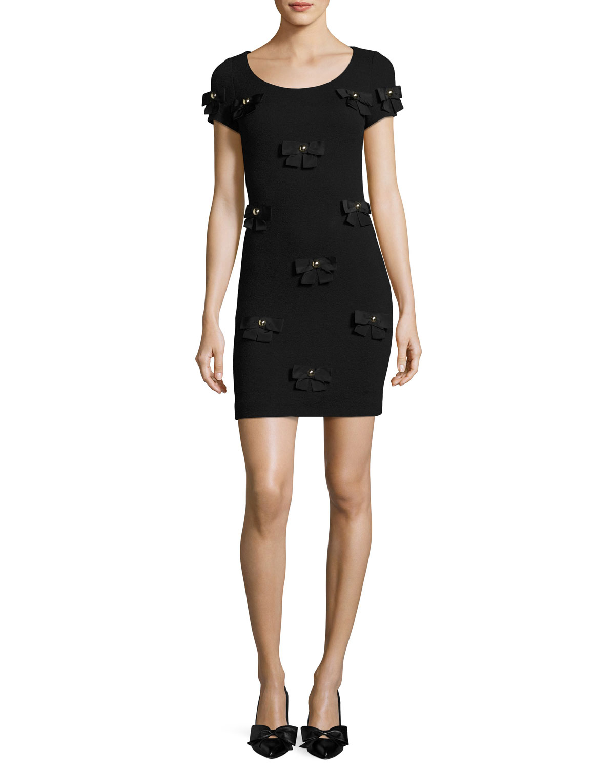 Short-Sleeve Crepe Sheath Dress w/ Bows, Black