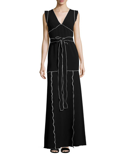 Flutter-Sleeve Contrast-Piped Knit Maxi Dress