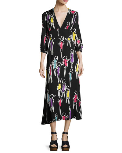 3/4-Sleeve Fashion-Print Long Dress, Multi Pattern