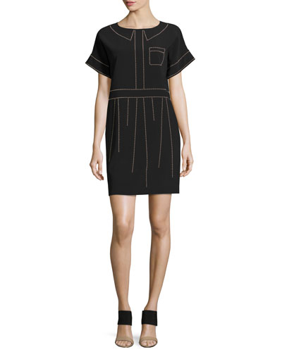 Short-Sleeve Studded Crepe Shift Dress