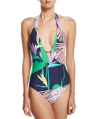 Midnight Paradise V Plunge One-Piece Swimsuit, Blue-Multi