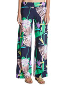 Midnight Paradise Coverup Wide Leg Pants, Blue-Multi