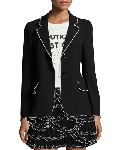 Contrast-Tipped Crepe Blazer