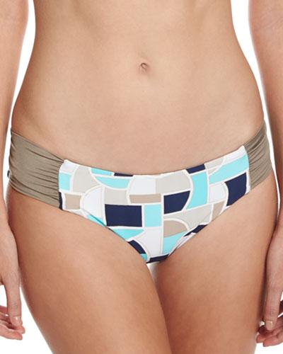 Disco Deco Reversible Shirred-Side Swim Bottoms, Multi
