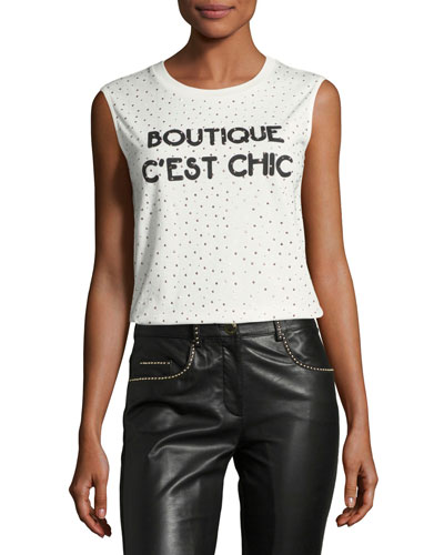 Sleeveless Embellished Boutique C'est Chic Tee