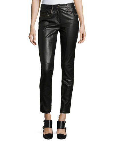 Studded Leather Combo Slim Pants